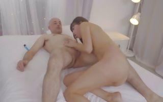 Brunette Anya Krey riding his fat dick getting ass hole destroyed